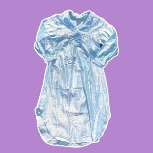 Vintage Satin Long Baby Blue Night Gown